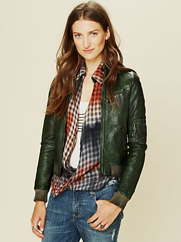 Blur Leather Bomber Jacket