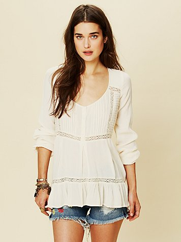 Free People Pintuck Bubble Sleeve Tunic