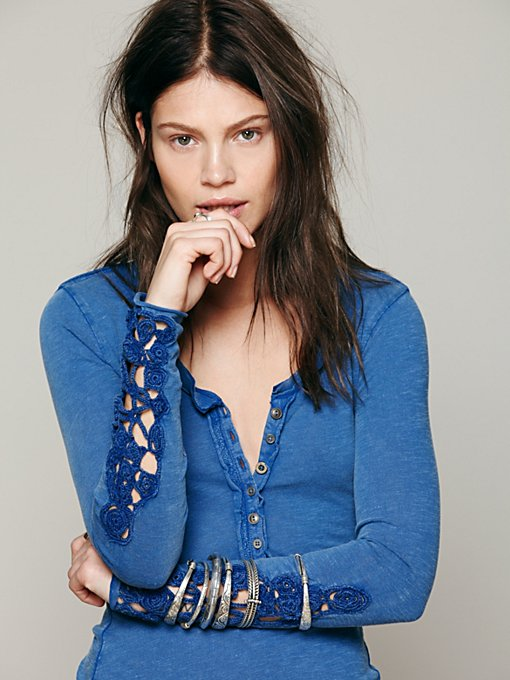 Free People Crochet Cuff Henley in knit-tops