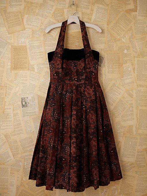Vintage Batik and Velvet Halter Dress in Vintage-Loves-dresses