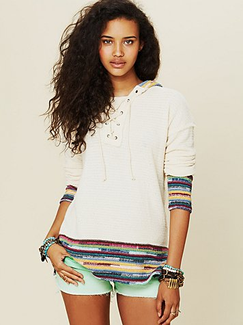 Free People Lace Up Border Stripe Hoodie