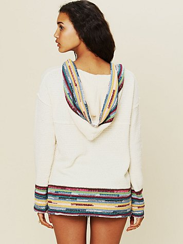 Lace Up Border Stripe Hoodie