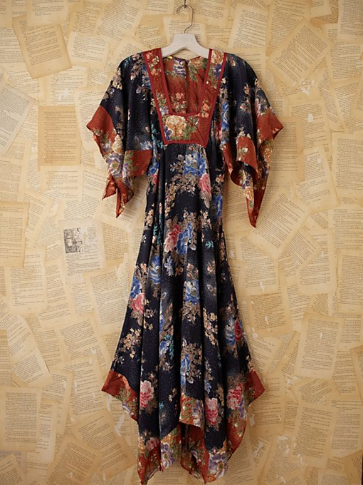 Vintage Floral Printed Empire Waist Maxi Dress in Vintage-Loves-dresses