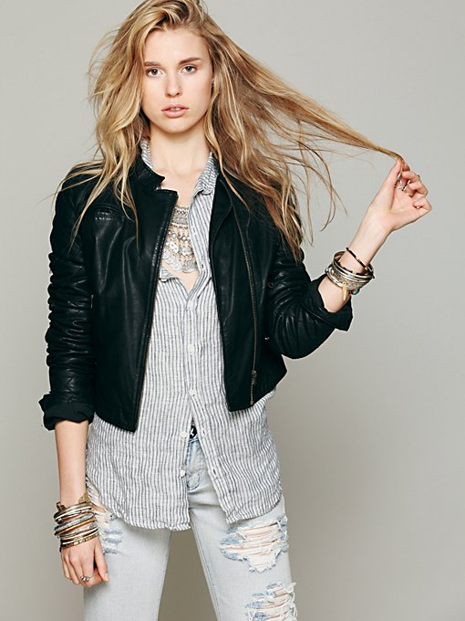 Free People Quilted Sleeve Vegan Leather Jacket in Jackets