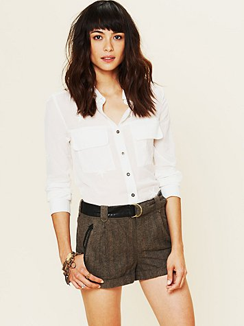 Free People Menswear Belted Tweed Shorts
