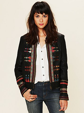 Free People Embroidered Vegan Jacket