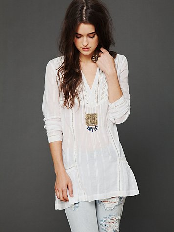 Free People Long Sleeve Pintuck Texture Tunic
