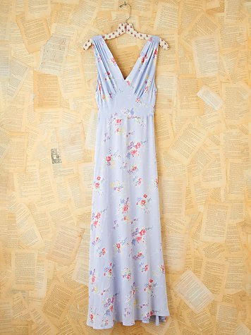 Vintage Floral Printed Silk Maxi Dress