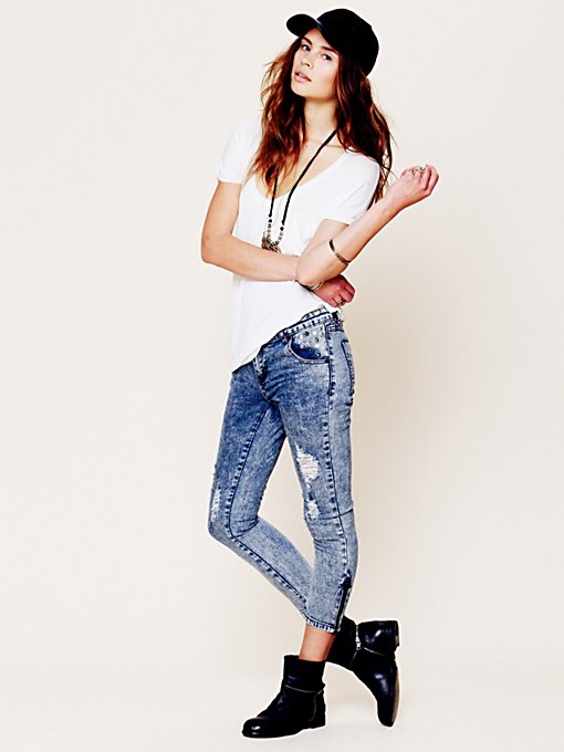 Studded and Destructed Skinnies in sale-sale-bottoms
