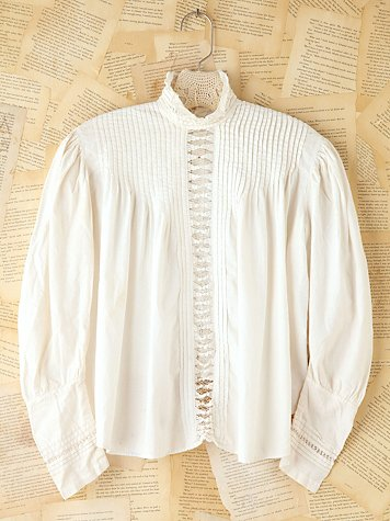 Vintage Cotton High-Neck Blouse