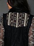 Embroidered Back Vegan Leather Vest