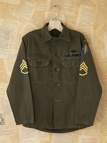 Free People Vintage Military Patched Cargo Jacket