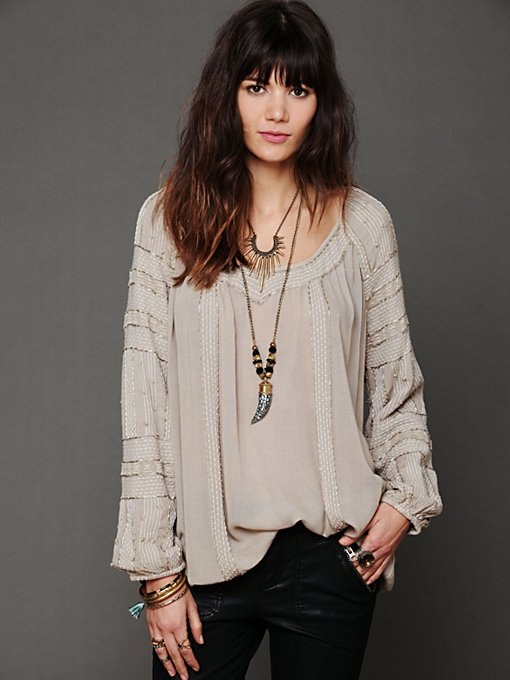 Free People Beaded Wavelengths Tunic in designer-brand-clothing