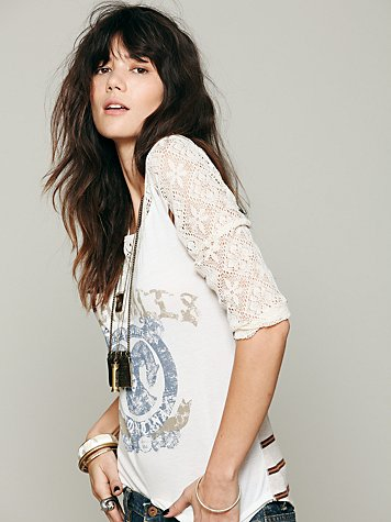 Free People Love Me Long Sleeve Graphic Top
