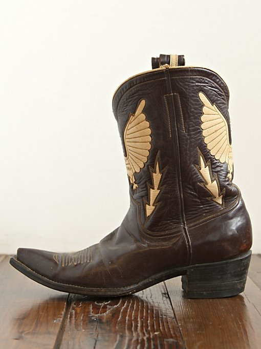 Free People Vintage Black and Beige Leather Boots in vintage-shoes