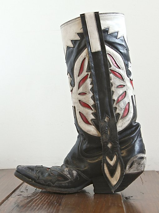 Free People Vintage Black, White, and Red Leather Boots in vintage-shoes