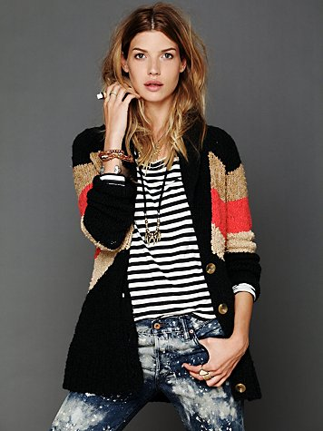 Free People Gone Askew Stripe Cardigan