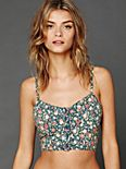 Printed Button Front Corduroy Crop Bra