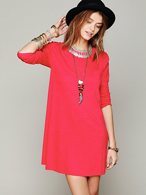 Long Sleeve Swing Dress in knit-jersey
