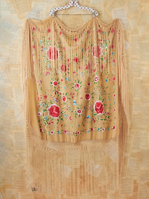 Free People Vintage Silk Floral Embroidered Shawl in Vintage-Accessories