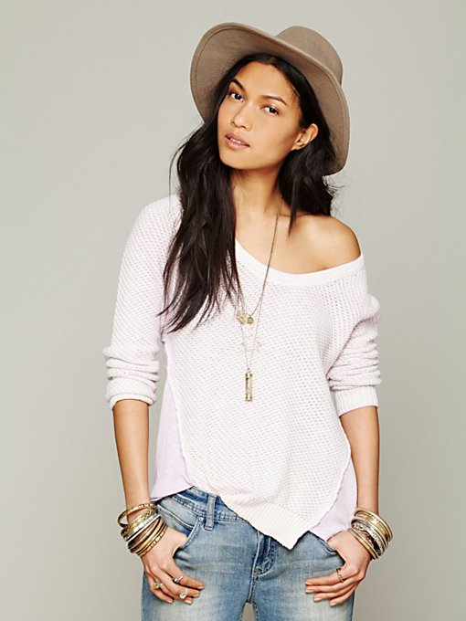Free People Sprayed Crew Neck Pullover in knit-sweaters
