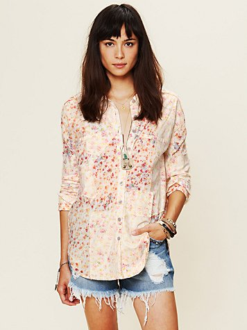 Free People Bleached Floral Button Down