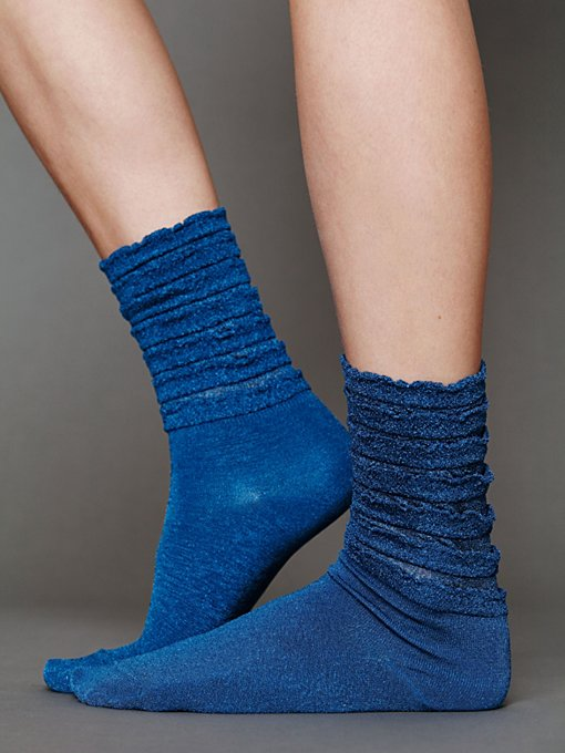 Ruffle Satin Ankle Sock in The-Perfect-Present
