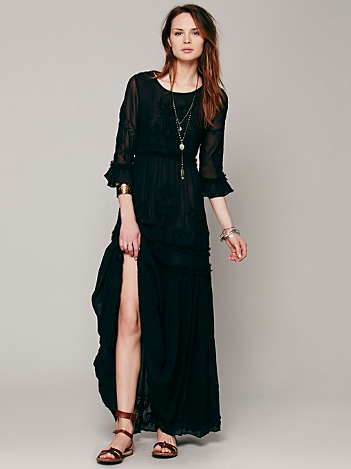 Free People White Romance Embroidered Maxi in Chiffon-Dresses