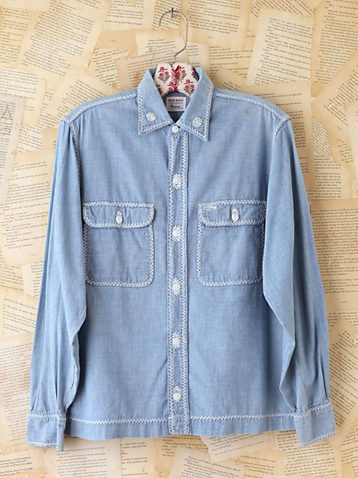 Free People Vintage Big Mac Chambray Shirt in vintage-jeans