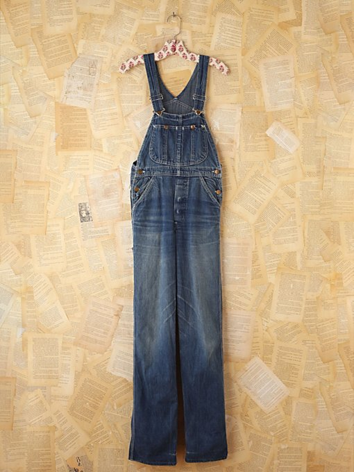 Free People Vintage Lee Dark Blue Denim Overalls in vintage-jeans