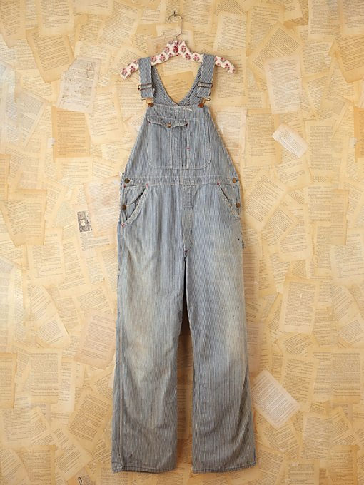 Free People Vintage Striped Denim Overalls in vintage-jeans