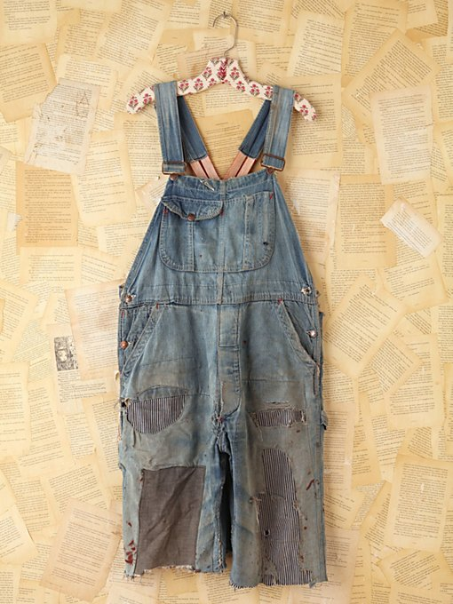 Free People Vintage Patched Denim Cutoff Overalls  in vintage-jeans