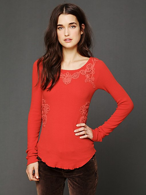 Free People FP X Soutache Waffle Scoop Thermal in knit-tops