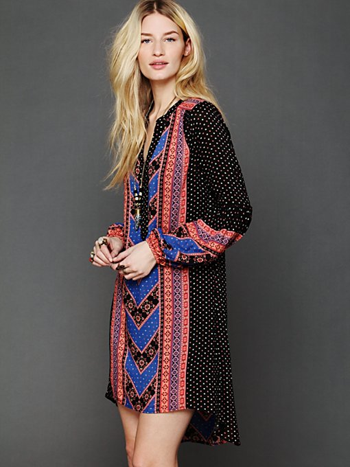 Free People Peacemaker Print Shapeless Dress in Mini-Dresses