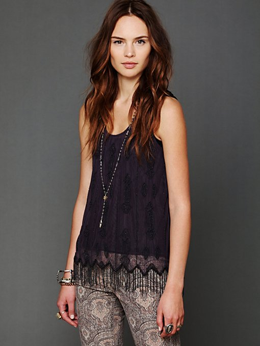 Free People Beaded Fringe Flapper Tank in knit-tops