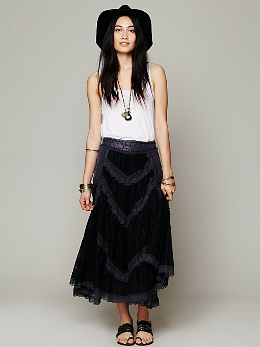 Free People FP X Annie Oakley Lace Skirt in black-maxi-dresses