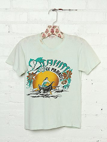 Free People Vintage Cutout Back Tahiti Le Paradis Graphic Tee