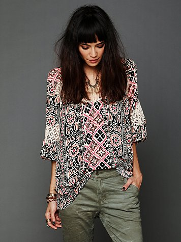 Free People Printed Bubble Sleeve Tunic
