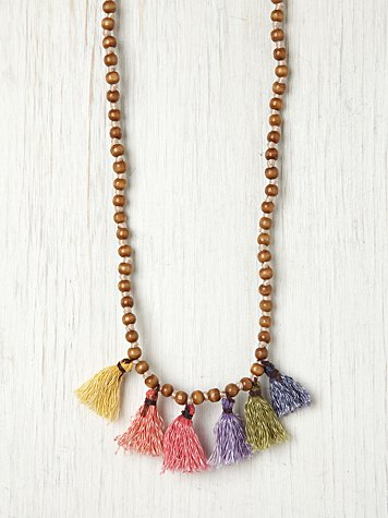 Free People Prayer Bead Pompom Necklace