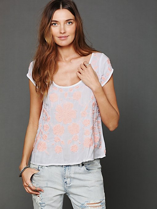 Embroidered Short Sleeve Top in sale-sale-tops