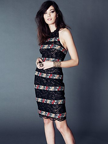 Cross Stitch Lace Column Dress