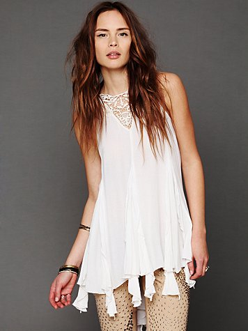 Sleeveless Crochet Ruffle Tunic