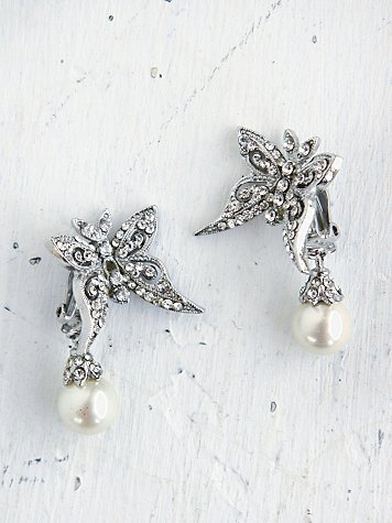 Vintage Butterfly Pearl Earrings