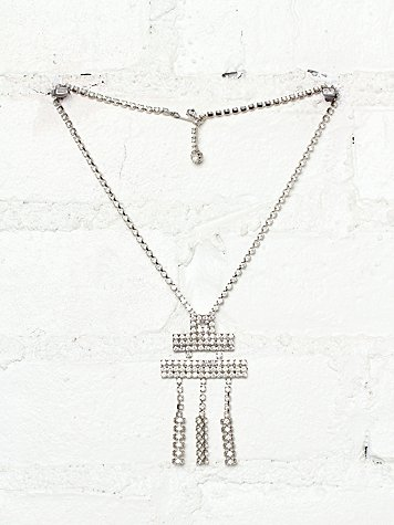 Free People Vintage Crystal Stone Embellished Necklace