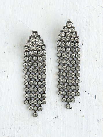 Free People Vintage Crystal Rhinestone Dangle Earrings