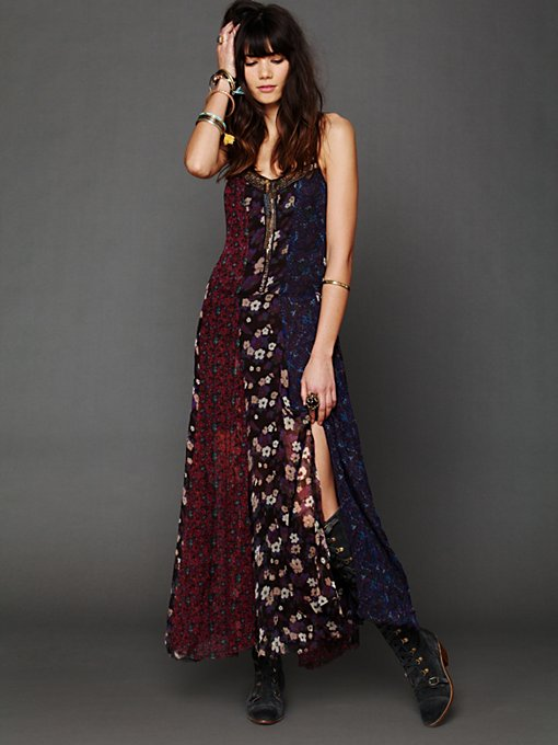 Free People Midnight Stars Pieced Print Dress in petite-maxi-dresses