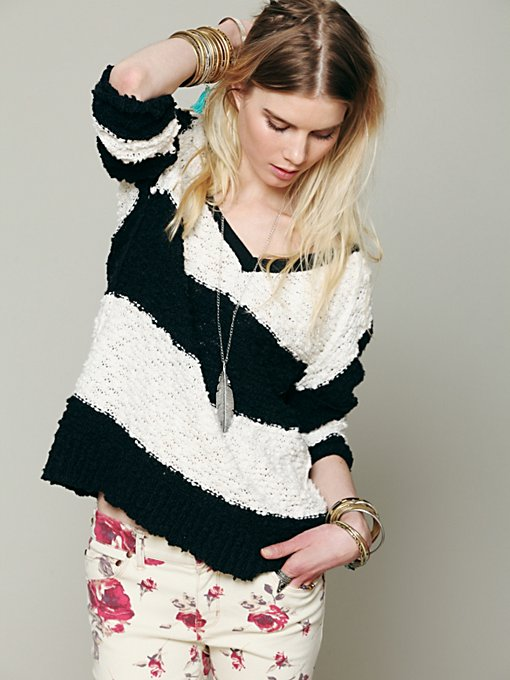 Striped Shaggy Knit Pullover in clothes-sweaters