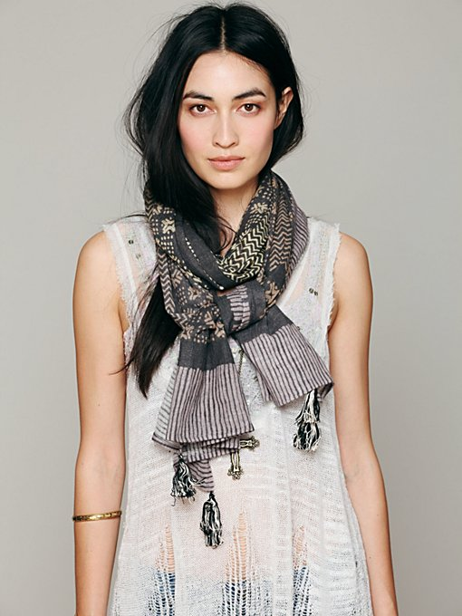 Free People Batik Print Scarf in Chunky-Scarves