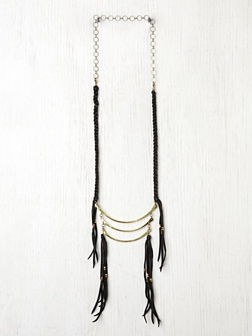Marisa Haskell Leather Fringe Breastplate in beach-jewelry