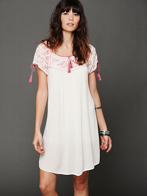 Embroidered Gauze Top in long-tunics